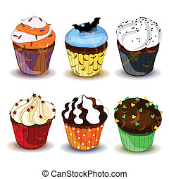 Vector Halloween Cupcakes - Vector Illustration of Colorful...