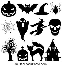 Set of 12 vector Halloween elements. Black silhouettes, isolated on white background.