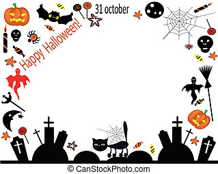 Vector halloween frame - Vector halloween background-frame.