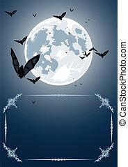 Vector Halloween frame with moon - Vector Halloween frame...