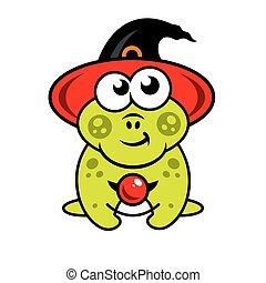Vector Halloween frog in witch hat Cartoon Illustration.
