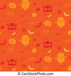 Vector - Halloween Ghost Bat Pumpkin Seamless Pattern Background