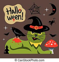 Vector Halloween Green Cat Cartoon Illustration.