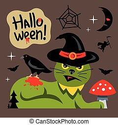 Vector Halloween Green Cat Cartoon Illustration.