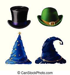 Vector Halloween headdress - top hat, bowler, cap - Vector...