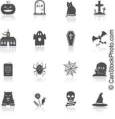 vector, halloween, iconos
