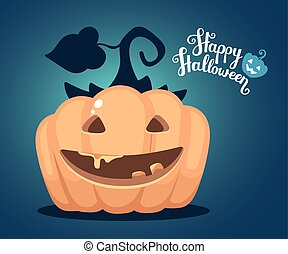 Vector halloween illustration of decorative orange pumpkin...