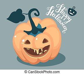 Vector halloween illustration of top view decorative orange...