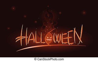 vector, halloween, ilustración, de, calabaza, en, llamas