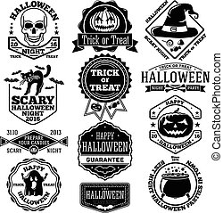 Vector Halloween labels, badges set. With kcull, pumpkin, cat, bats, ghost, candies etc.