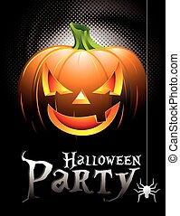Vector Halloween Party Background with Pumpkin.