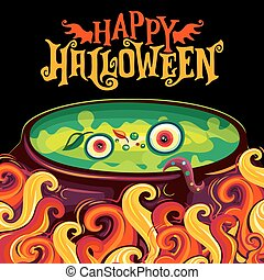 Vector Halloween party invitation poster, witch cauldron