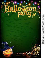 Vector Halloween party poster template with cartoon style pumpkin and witch broom, colorful lamps garland on dark background.