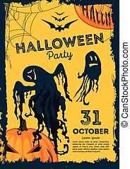Vector. Halloween poster on a yellow background with ghosts and