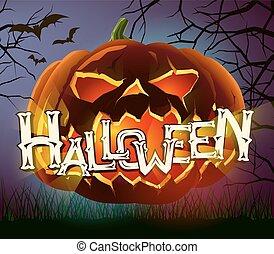 Vector halloween poster with evil pumpkin on dark background.
