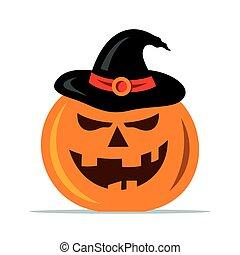 Vector Halloween pumpkin Cartoon Illustration.