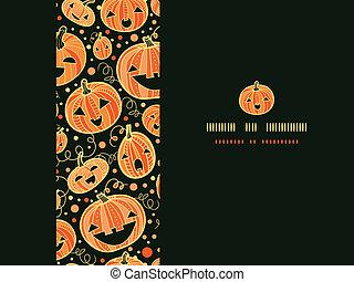 Halloween pumpkins horizontal frame seamless pattern background