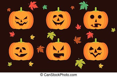 Vector Halloween, pumpkins icon set