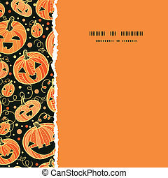 vector Halloween pumpkins square torn frame seamless pattern background with hand drawn elements