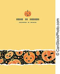 Halloween pumpkins vertical torn frame seamless pattern background