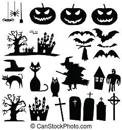 vector, halloween, siluetas