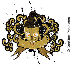 vector halloween skull with hat banner