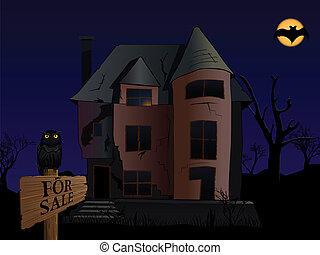 spooky house - vector halloween themed illustration of old...