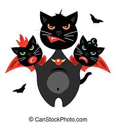 Vector Halloween Three-headed Dragon cat Cartoon Illustration.