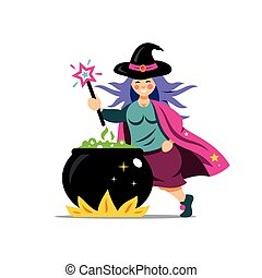 Vector Halloween Witch and cauldron Cartoon Illustration.