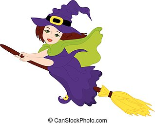 Vector Halloween Witch Flying on Broomstick
