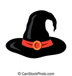 Vector Halloween witch hat Cartoon Illustration.