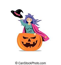 Vector Halloween Witch in pumpkin Cartoon Illustration.