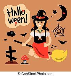 Vector Halloween Witch on broomstick Cartoon Illustration.