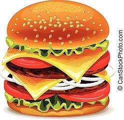 vector, hamburger, illustratie