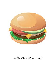 hamburger - Vector hamburger isolated on the white...