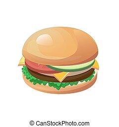 hamburger - Vector hamburger isolated on the white...
