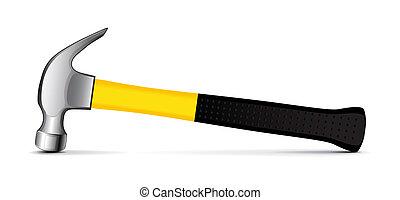 Detailed vector illustration of a hammer on white