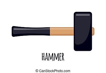 Vector Hammer icon in flat style isolated on white background.