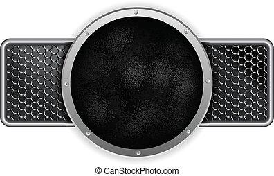 Hammered Metal Circle Silver Banner