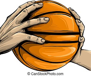 vector hand and basketball isolated on white