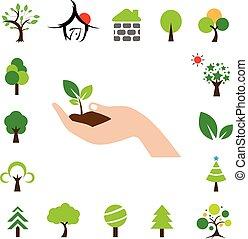 hand and tree symbol set