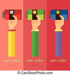 vector hand arm illustration paint can color background icon