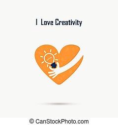 vector, hand, concept, poster, hart, hersenen, creativiteit, idee, industriële vormgeving, menselijk, logo, bol, opleiding, concept.
