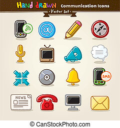 Vector Hand Draw Communication Icon Set