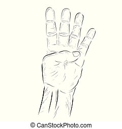Vector hand draw sketch Counting or Voting Hand, 2, isolated on white