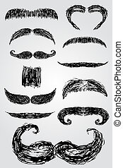 hand draw sketch, Moustache