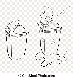 Hand Draw Sketch of 2 trash bin, plastic modern clean and dirty at transparent effect background