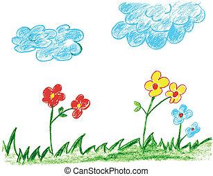 hand draw sketch of garden