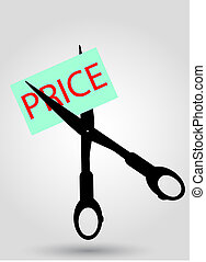 hand draw, sketch of price cutting - vector hand draw,...