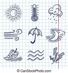 Vector hand draw weather icon set
